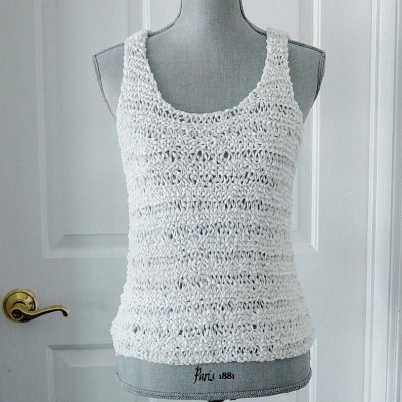 5e97ddc19a8ec White Hand Knit Tank Top Camisole White Sleeveless Top Tank