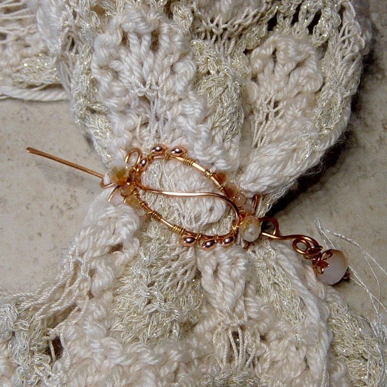 Scarf Pin Wire Shawl Pin Crystal Beaded Copper Scarf Pin Beaded Wire Work Copper Wire Beaded Scarf Pin Gift for Her