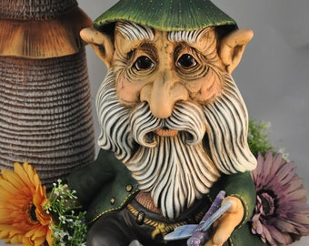 Thomas the Sitting Gnome with Dragonfly