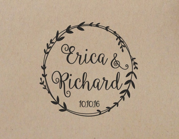 Wedding Stamp Wreath Personalized