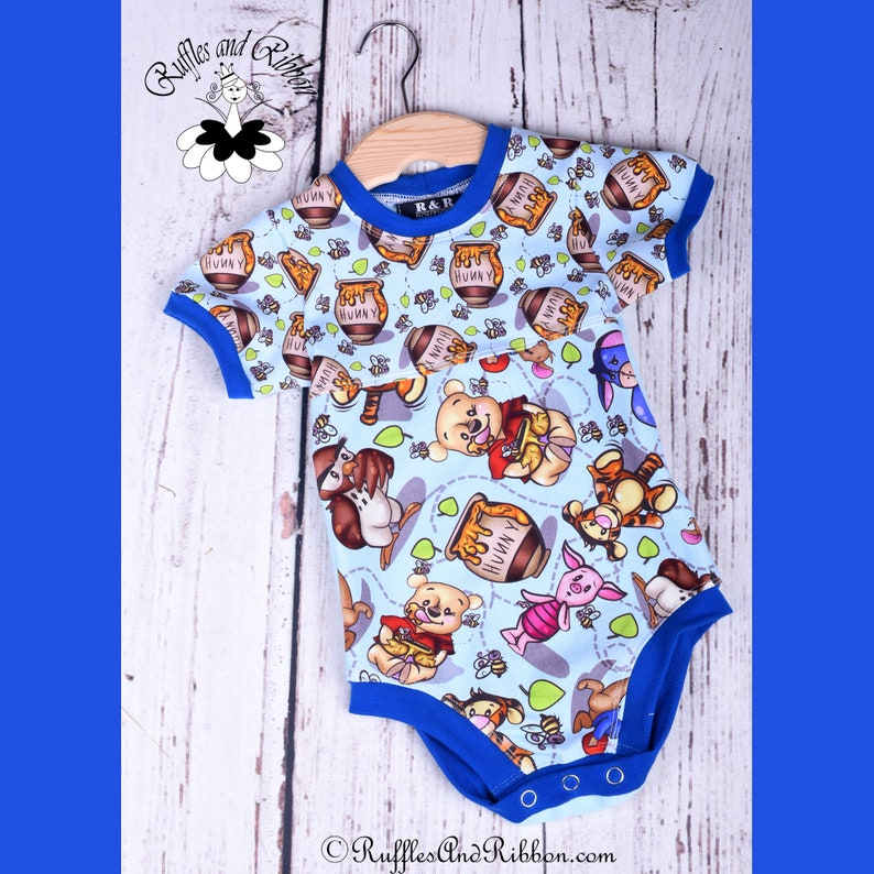 Size 3-6 Months  Bodysuit  Baby Boy Outfits  Baby Boy Clothes  Handmade  Trendy Baby Clothes  Ruffles and Ribbon  Honey Lover  Blue