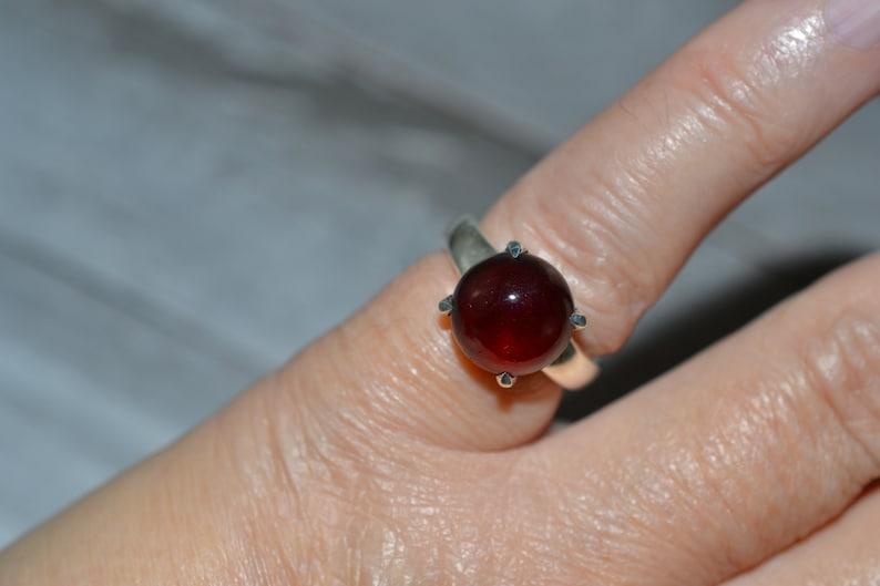 Garnet Ring Size 5.5 Natural Garnet Silver Ring Hessonite Garnet Silver Ring Garnet 925 Sterling Silver Ring