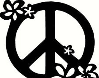 DIY Peace Sign With Flowers Vinyl Decal, Hippy, Peace, Car Window Decal, Laptop Decal, Tablet Decal, Cell Phone Yedi Mug Decal, Coffee Cup