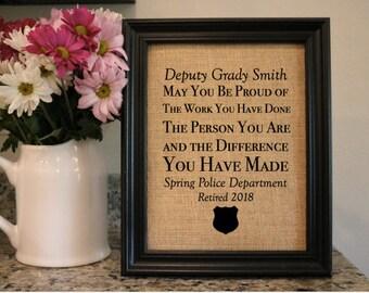f6fc9f1f6 Police Retirement Burlap Print - Custom Sheriff Retirement Gift - Law  Enforcement Retiring - Deputy Retiring