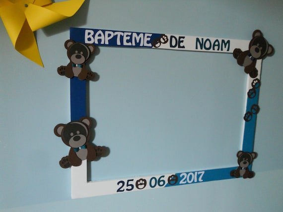 cadre photobooth personnalis ourson ours pour bapt me etsy. Black Bedroom Furniture Sets. Home Design Ideas