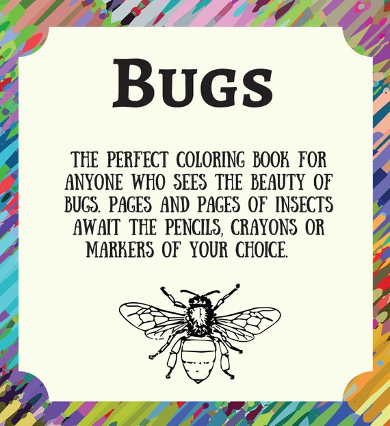 graphic about Printable Bugs identified as Printable Insects Coloring E-book /Grownup Coloring E-book/Printable Electronic PDF Down load/Developed-up Coloring E-book