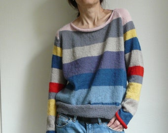 knit striped pullover colorful suri alpaca