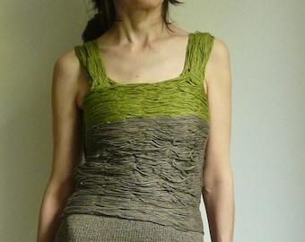 tank ,top , dark grey , green, sewn from linen blend ribbon yarn