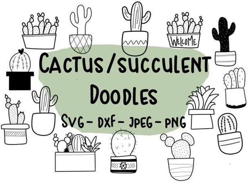 cactus clip art succulent clip art hand drawn cactus Cactus svg cactus digital succulent doodles succulent digital,