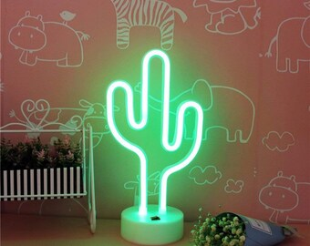 Cactus Led Neon Sign Light Indoor Night With Holder Table Lamps Usb Cable  Battery Home Decor Bedroom Birthday Party Christmas Kids Gift