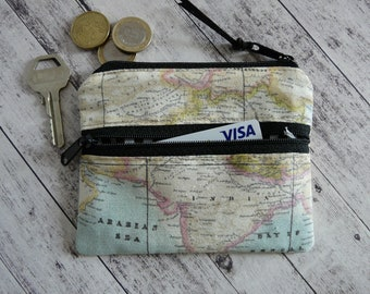 Coin pouch, world map, card holder, travel pouch, mini wallet, double zipper purse, earbud case, key bag, zipper pouch accessory bag
