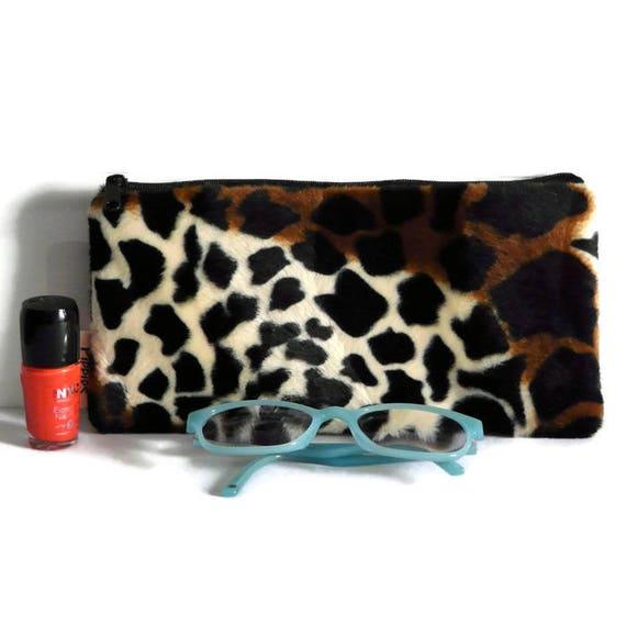 Faux fur makeup bag luxury cosmetic case jungle pen bag  dc9e768e5fab3