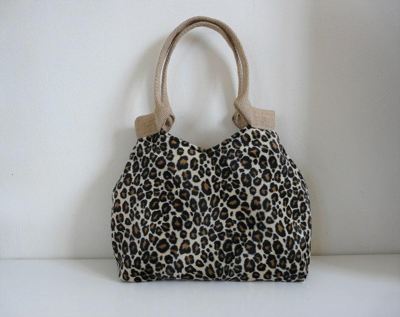 639c611d4e Leopard print tote bag faux fur handbag fake fur bag