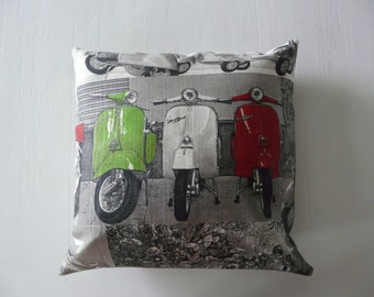 Vespa pillow cover, cushion cover, decorative throw pillow , scooter pillow cover,  retro pillow, pillowcase, Vespa print, retro scooter
