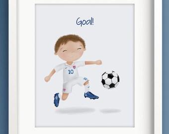 Soccer Boy - US Soccer - Little Boys Room Decor - Soccer decor - Football League - Boys Room Art - Sweet Cheeks Images
