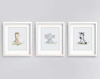 Set of 3 Wall Art - Safari Nursery - Baby Animal Prints - Nursery Decor - Baby Shower Gift - Baby Elephant -  Safari Wall Art - Sweet Cheeks
