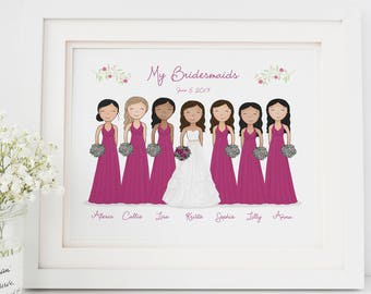 Custom Bridal Party Portrait Bridesmaid Gift Wedding Keepsake Gift