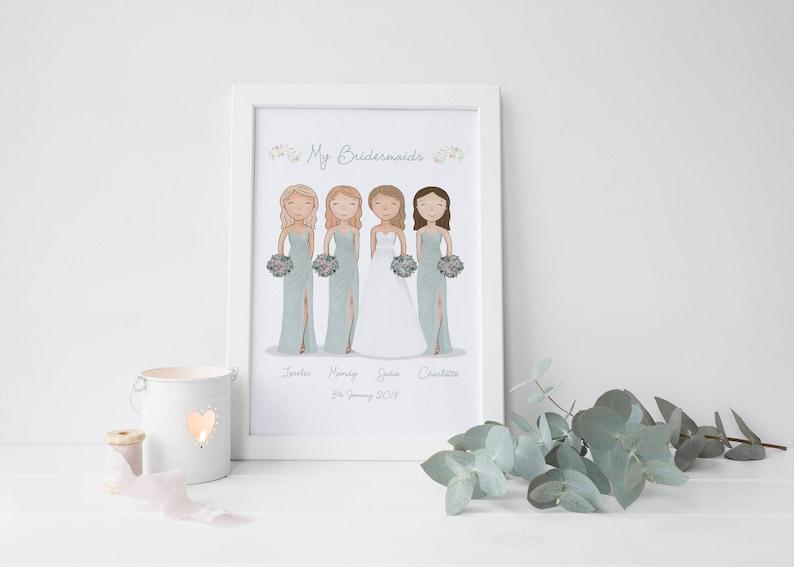image 0 ...  sc 1 st  Etsy & Custom Bridal Party Portrait Bridesmaid Gift Wedding | Etsy