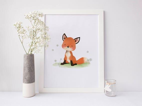 Baby Fuchs Kindergarten Kunst Fox Kinderzimmer Dekor Fox Etsy
