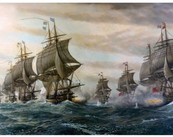 Battle of the Virginia Capes 1781 Fine Art Painting Reproduction Print Sailing Ships
