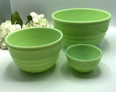 Jadeite Jeanette Beehive Concentric Circle Mixing Bowls, 3 Green Glass Mixing Bowls, RARE