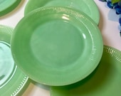 Jadeite Fire King Jane Ray Plates, Vintage Jadeite Dinner Plates, 9 inches, Fire King Glassware, Green Milk Glass Plate