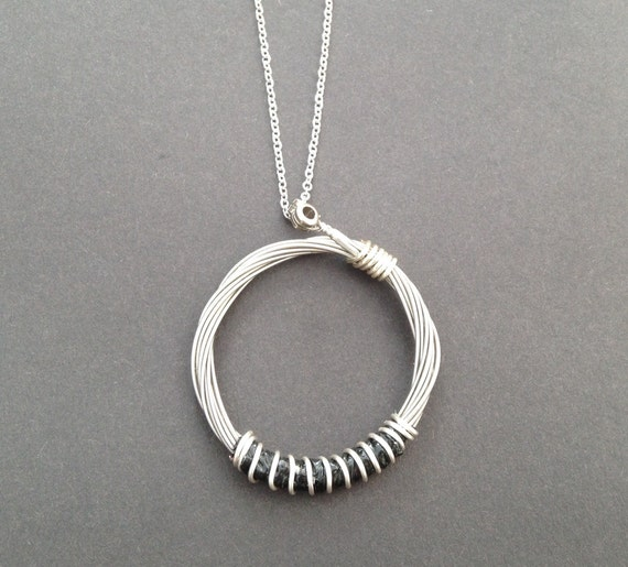 Unisex Recycled Silver Guitar String Pendant//Necklace Unique guitarists gift.
