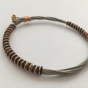 Recycled Electric Guitar String Bracelet and bronze copper wire Unisex Unique Guitarist Gift styled with black