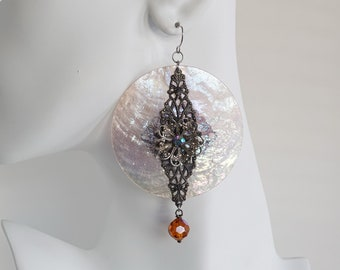 Large Round Filigree & Capiz Shell Earrings