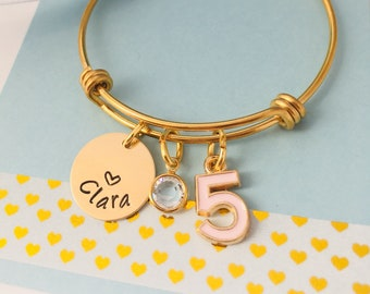 Kids Birthday Bracelet 5th Gift Fifth Personalized Name