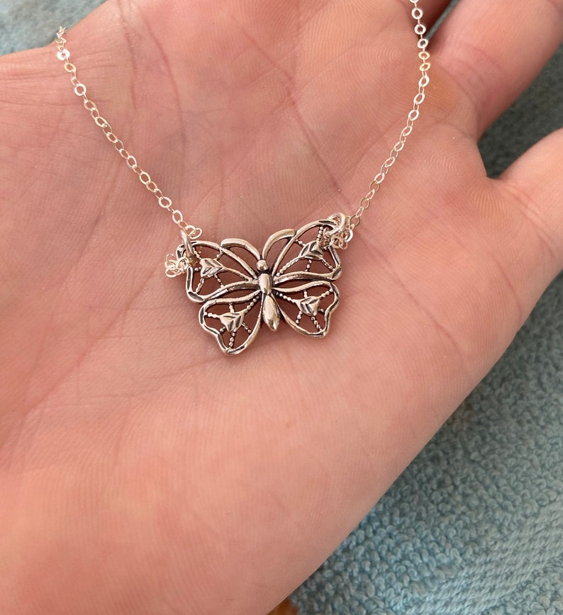 Sterling Silver Butterfly Necklace Butterfly Pendant Necklace