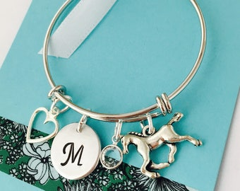 Horse Bracelet, Silver, Personalized Horse Bracelet, Horse Jewelry, Little Girls Bracelet, Young Girl Jewelry, Horse Bangle, Birthday Gift