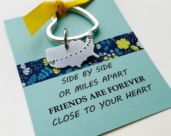 Long Distance Keychain, Best Friends Keychain, Personalized United States Keychain, Moving Away Gift , Graduation Gift