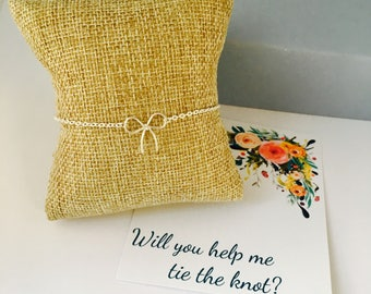 Will you be my help me tie the knot, Bridesmaid Bracelet, Bow Bracelet, Bridesmaid gift, Wedding Jewelry, Sterling Silver, Bridesmaid