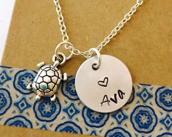 Turtle Necklace, Name Necklace with Turtle Charm
