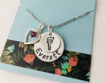 Hand Stamped Mother Necklace New Baby, Baby Shower, New Mom, Gift for New Mom