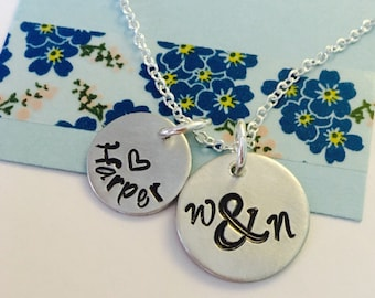 Personalized Mommy Necklace, Hand Stamped Family Necklace, Ampersand Family Necklace, Mommy Necklace, Gift for Mommy, Birthday, Anniversary,