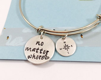 No Matter Where Bracelet, Long Distance Jewelry, Best Friends Bracelet, Moving away