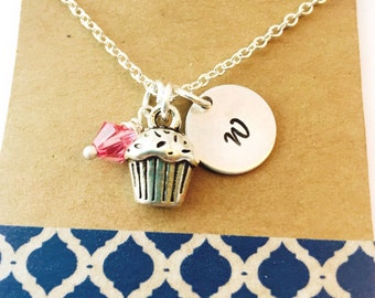 Sale Cupcake Charm Necklace ,Swarovski Birthstone Initial Silver Plated Necklace / Personalized