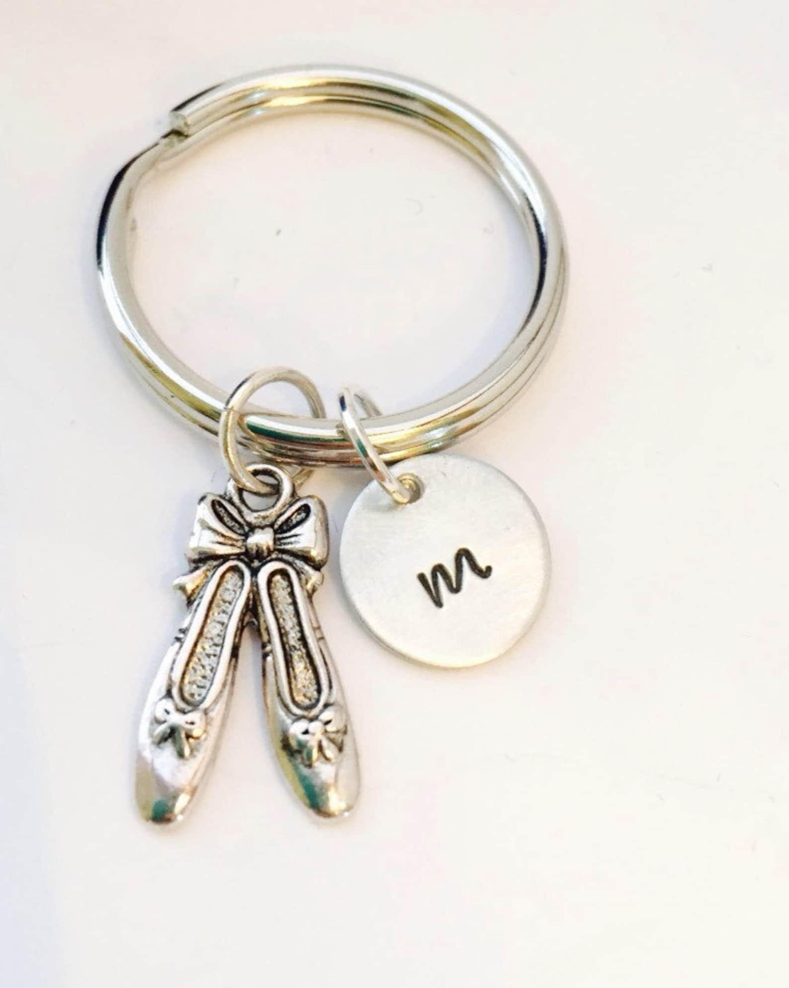 keychain ballet slipper, initial ballerina keychain personalized dance keychain ballerina gift