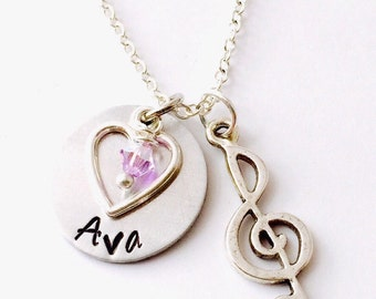 Music Necklace, Treble Clef Charm , Treble Clef  Necklace ,Name Necklace, Hand Stamped Necklace ,Gift for her, Music Teacher
