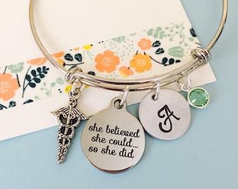 Medical Bracelet, Doctor Bracelet , She believed she could so she did, Adjustable bracelet,  Personalized Bracelet, Nurse Bracelet
