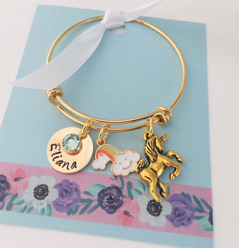 291ac16f6588 Unicorn Bracelet Personalized Kids Bracelet Little Girls