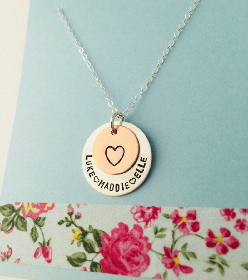 Sterling Silver Mom Necklace Personalized Mom Necklace Grandma Necklace Kids Names Necklace