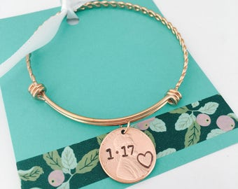 Anniversary Bracelet, Date Bracelet ,Penny Bracelet, Rose Gold Bracelet, Date Bracelet, Anniversary Gift, Personalized Jewelry
