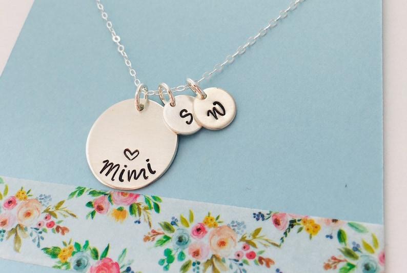 Mimi Necklace Personalized Grandma Necklace Grandma Initial Necklace Sterling Silver Grandma Necklace