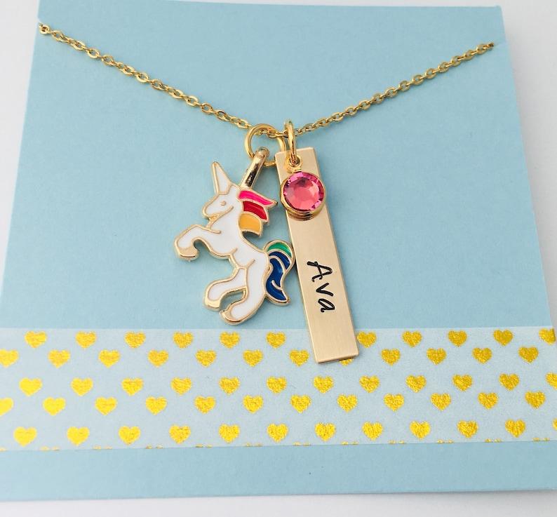 Personalized Unicorn Necklace Unicorn Name Necklace Kids image 0