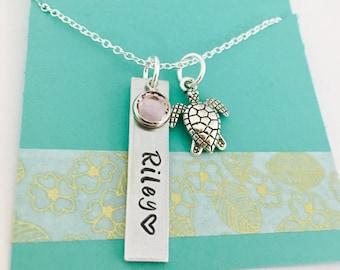 Sea Turtle Necklace, Personalized Turtle Necklace, Turtle Name Necklace, Hand Stamped Turtle Necklace