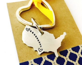 Long Distance Keychain Personalized United States Keychain -Long Distance Key Chain - Best Friends - Moving Away Gift  Heart Key Ring
