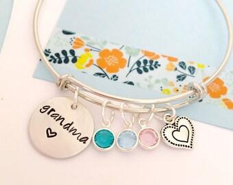 Grandma Bracelet, Personalized Grandma Bracelet, Adjustable Bangle Bracelet, Silver Mimi Bracelet, Grandma Bracelet Family   Bracelet, Perso